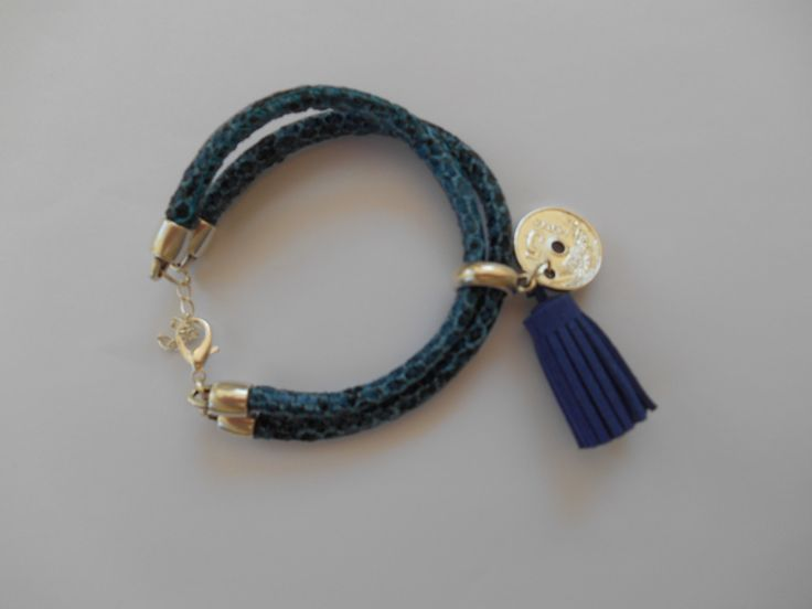 Snake leather brachelet, with blue fridge and coin!!