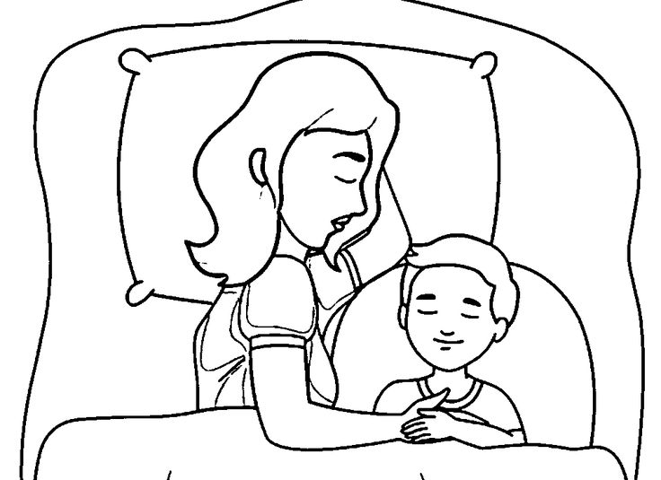 mother and child sleeping in bed family coloring page - Coloring Pages Babies Sleeping