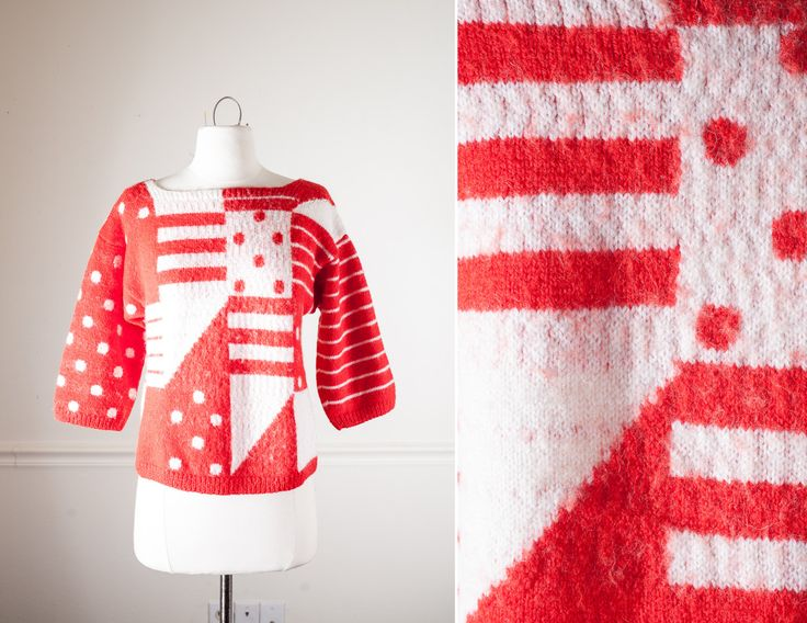 Pop Art Sweater | Red Polka Dot 80s Sweater Boho Chic Cropped Sweater Slouchy Top Geometric Avant Garde Mod 60s Style Jumper 80s Pullover by BlueHorizonVintage on Etsy