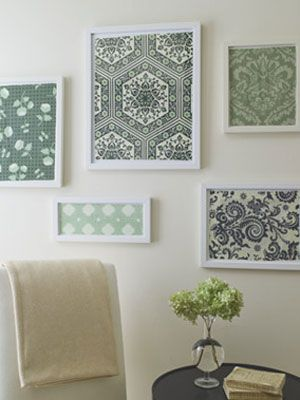 create beautiful wall art easily with items you have lying around your house - Fabric Wall Designs