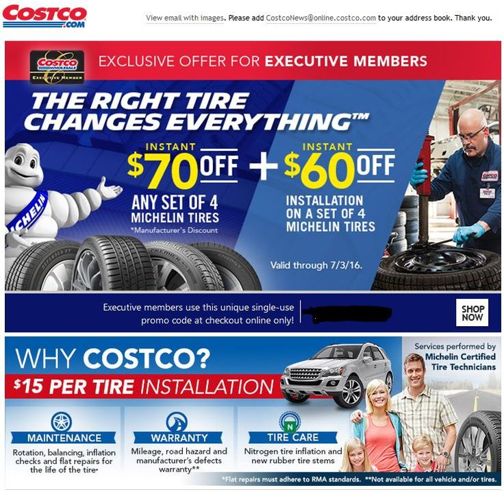 COSTCO Online Executive Offer - Save $130 ($70 Additional $60) on Michelin Tires --Valid Through 7/3/2016 YMMV #LavaHot http://www.lavahotdeals.com/us/cheap/costco-online-executive-offer-save-130-70-additional/100397