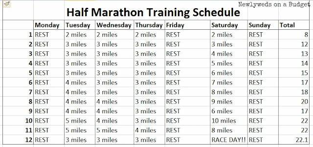 12 week half-marathon training schedule