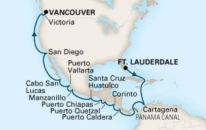 Map of 21-DAY PANAMA CANAL Cruise