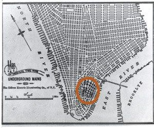 Pearl Street Station #pearl #street http://japan.nef2.com/pearl-street-station-pearl-street/  # Pearl Street Station Although cutting-edge for its day, Pearl Street station could power only a tiny portion of Manhattan as shown in red on this map. Courtesy: Photographic Services of the Consolidated Edison Company of New York, Inc. With the opening of the Pearl Street station in lower Manhattan at 3 o'clock in the afternoon on 4 September 1882, Thomas Edison publicly presented a complete…