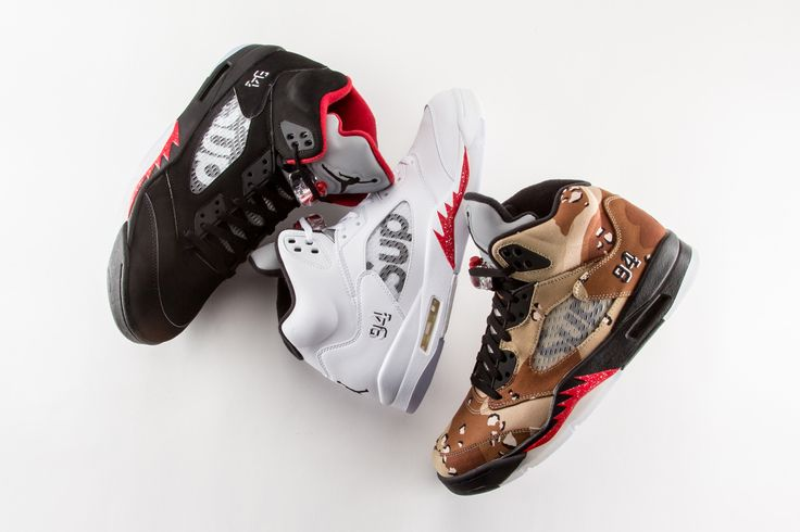 From simple black and white options to avant-garde camo, the Supreme x Air Jordan 5 has something for everyone.