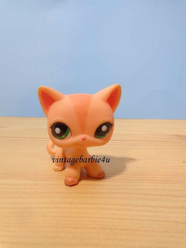 Littlest Pet Shop LPS #1764 Cat Short Hair Orange Peach V Stripe Green Dark Eyes #Hasbro