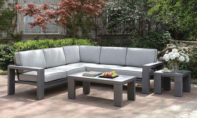 Cm Os1884 3pc 3 Pc Codington Gray Metal Frame Gray Cushions Sofa Sectional Set Furniture Of America Furniture Patio Sectional