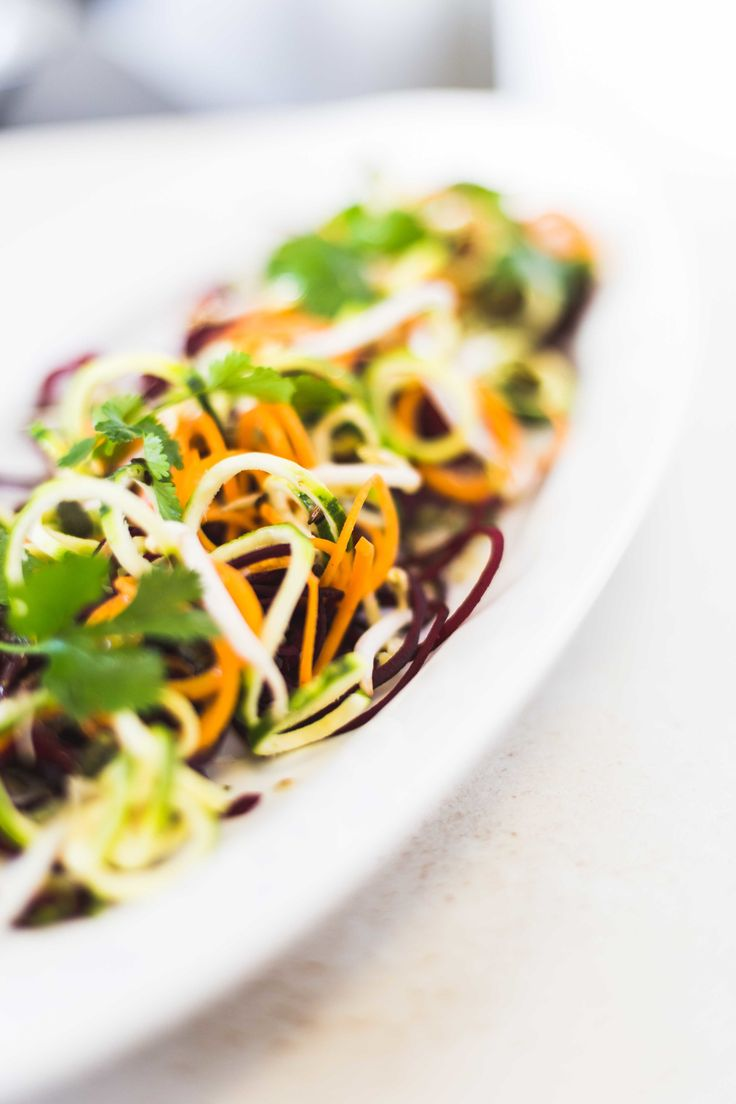 Spring salad Beetroot, carrot and courgette spiral salad with cumin vinaigrette.