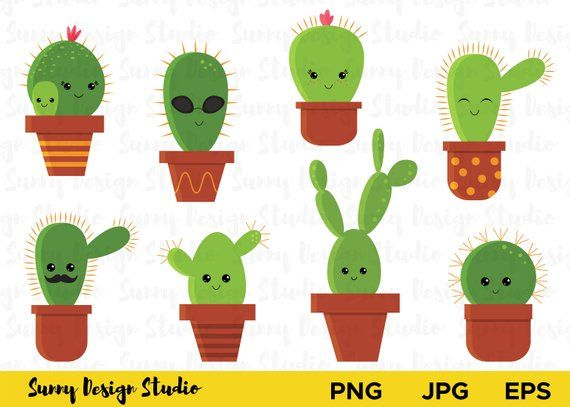 Cute Cactus Clipart Cartoon Cactus With Kawaii Face Vector Etsy In 2021 Cactus Clipart Clip Art Kawaii Faces