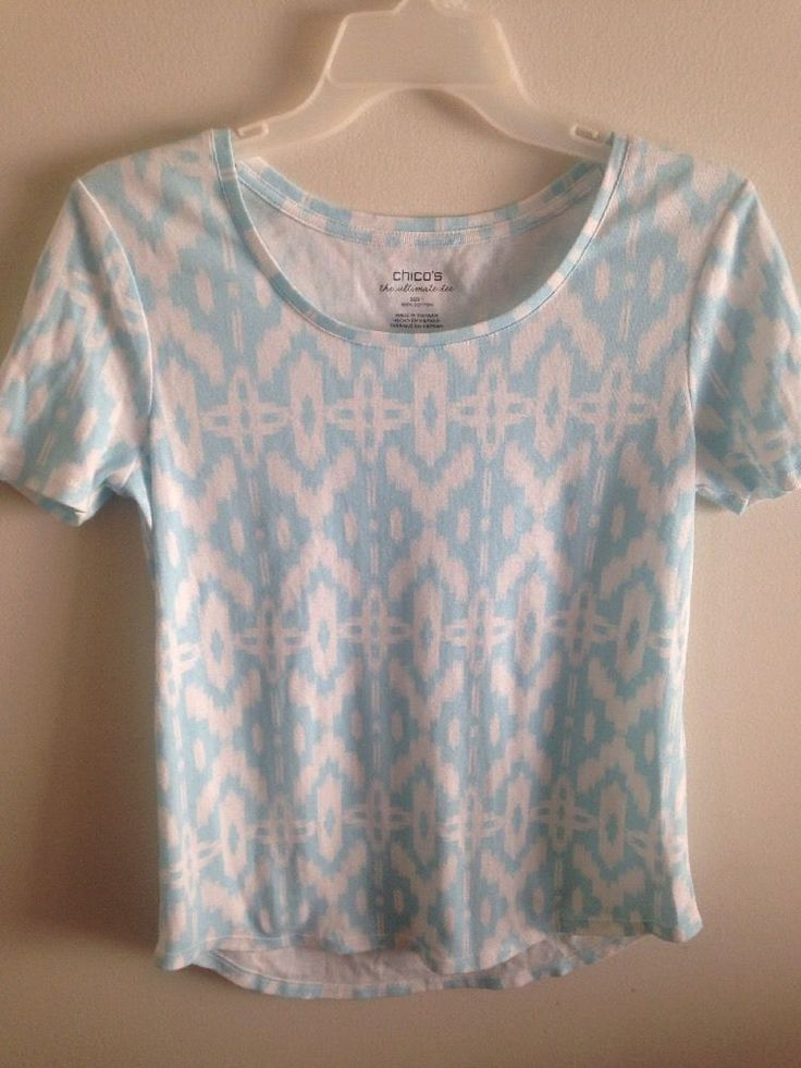 Chico's Blue and White Tee Shirt Size 1 Cotton  NWOT #Chicos #KnitTop