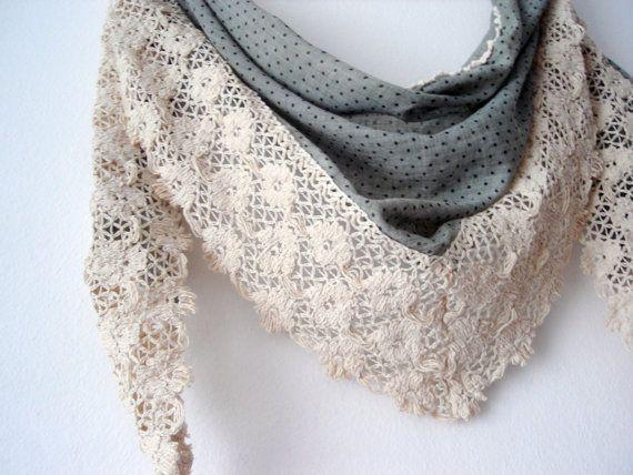 Women Scarf Triangle scarf Purple Scarfs Lace by DesignHappyDay