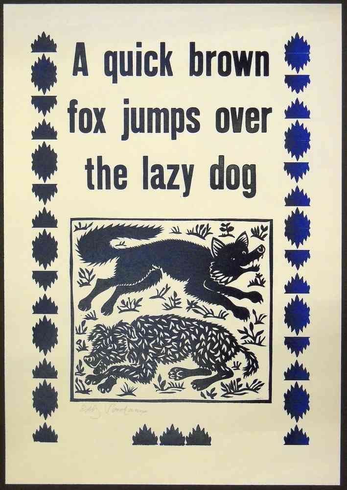 Linocut and wooden letters, 'A quick brown fox jumps over the lazy dog'