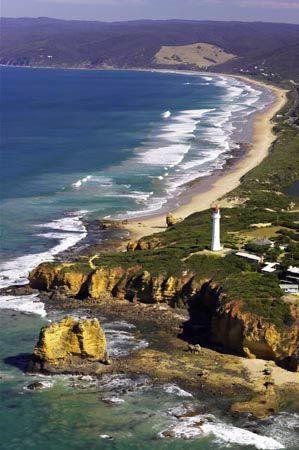 Aireys Inlet and Split Point Lighthouse, Great Ocean Road, Victoria, Australia - aerial