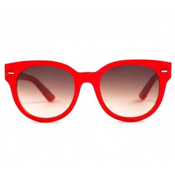 Equipment Lana Sunglasses Red Handcrafted Sunglasses ($137) ❤ liked on Polyvore featuring accessories, eyewear, sunglasses, glasses, red, brown gradient sunglasses, round lens sunglasses, round sunglasses, round frame sunglasses and red glasses