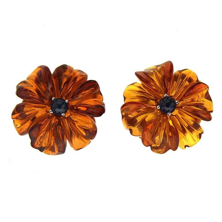 Sapphire Cabochon Amber Gold Flower Earrings   From a unique collection of vintage clip-on earrings at https://www.1stdibs.com/jewelry/earrings/clip-on-earrings/