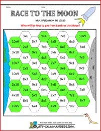 Race to the Moon - multiplication facts to 10x10 - a math game for 3rd grade and up to help your child learn their tables