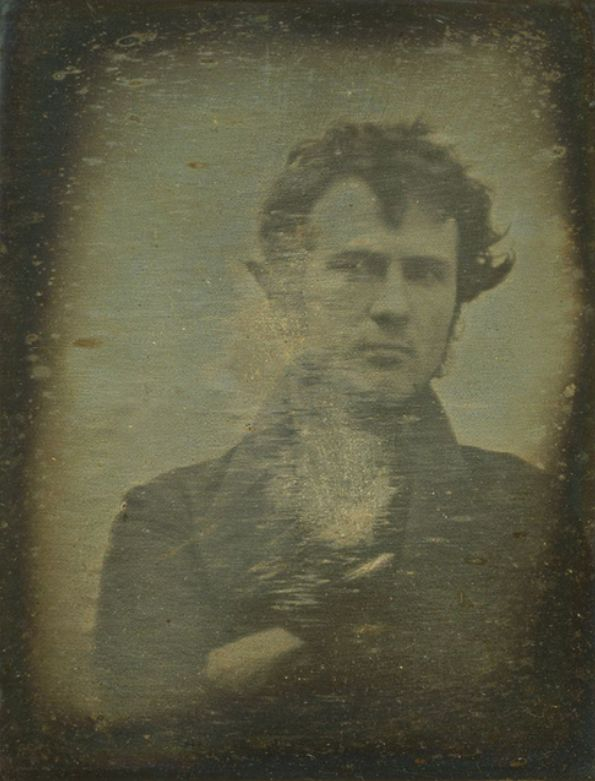 The oldest known selfie. (1839). Robert Cornelius took this photo outside the store his family owned. It became famous for being the first self portrait or as its commonly known, a selfie.