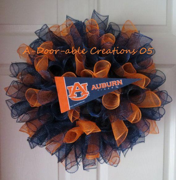AUBURN Deco Mesh Wreath by ADoorableCreations05 on Etsy, $45.00
