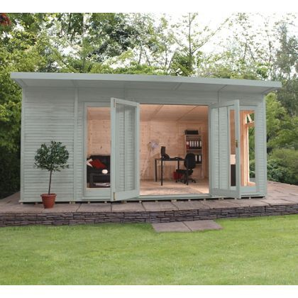 Mercia Wooden Insulated Seagrass Painted Garden Room - 17ft x 15ft (with Installation)