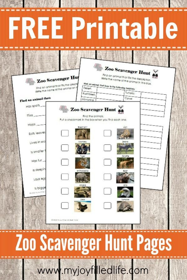 FREE Printable Zoo Scavenger Hunt Pages - My Joy-Filled Life