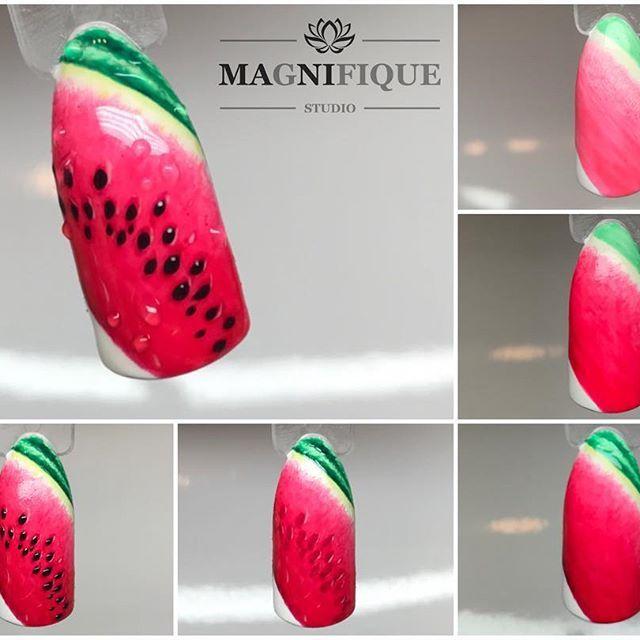Mix Arte brillante.  Indigo Nails ❤️ #indigonails #indigonailart #indigonailslab #indigolovers #wzornik #owocenapaznokciach #wzorkireczniemalowane #wzorkinapaznokciach #fruits #summernails #summerfling #watermelon #watermelonnails #artebrillante #stepbystep #nailarttutorial
