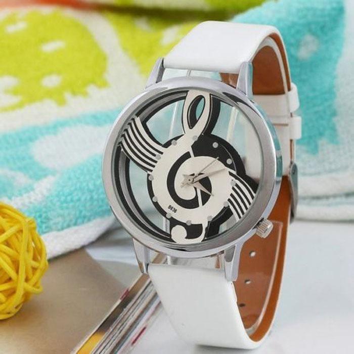 Neueste Kühle Uhr Retro Mode Frauen Uhren Hinweis Music Notation Leder Quarz Armbanduhr Dame Girls Clock