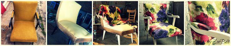 """""""Ζούμε για να αγαπάμε, να χαιρόμαστε και να δημιουργουμε""""! Πολυθρονάκι δεκαετίας '60. Μετά την εύρεση και τη μελέτη του, σειρά έχει το design! #upcycled_furniture #reuse #eco_design"""