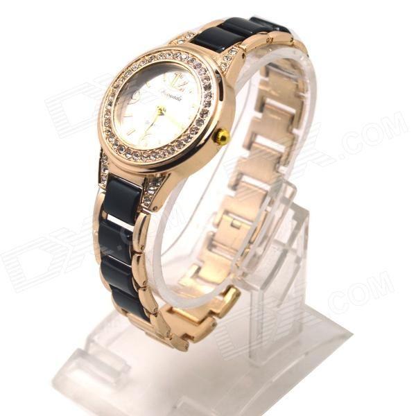 10% OFF! Women's Fashion Round Crystal Dial Analog Quartz Wrist Watch - Golden + Black (1 x LR626) #madeinchina #watches >http://dxurl.com/ROty