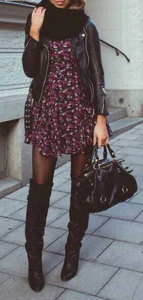 Short Dress goes well with pantie hose and tall boots