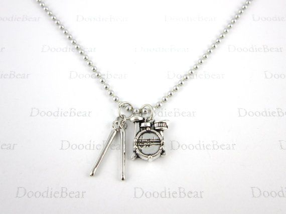 Drummer Necklace Music Jewelry Drummer Jewelry by DoodieBear