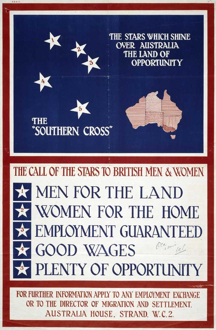 Poster inviting British men and women to migrate to Australia