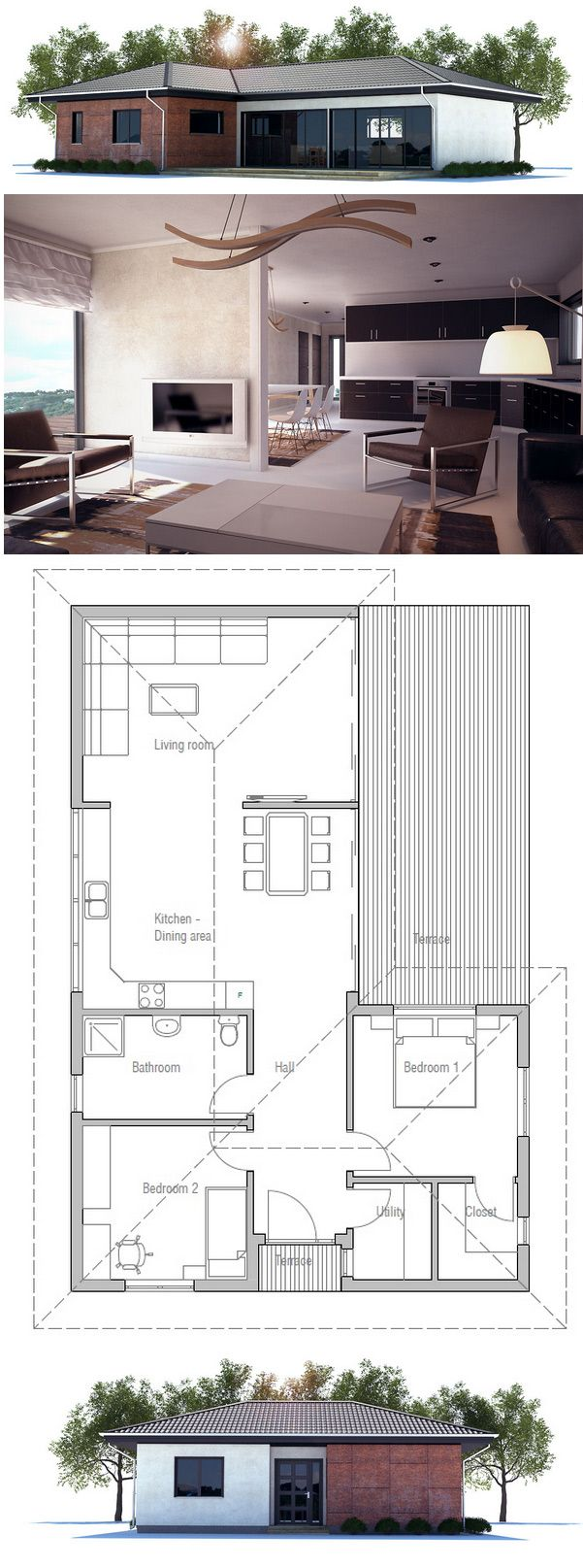 House Plan CH222 Total Living Area