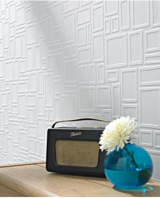 Large squares embossed wallpaper (can paint it)