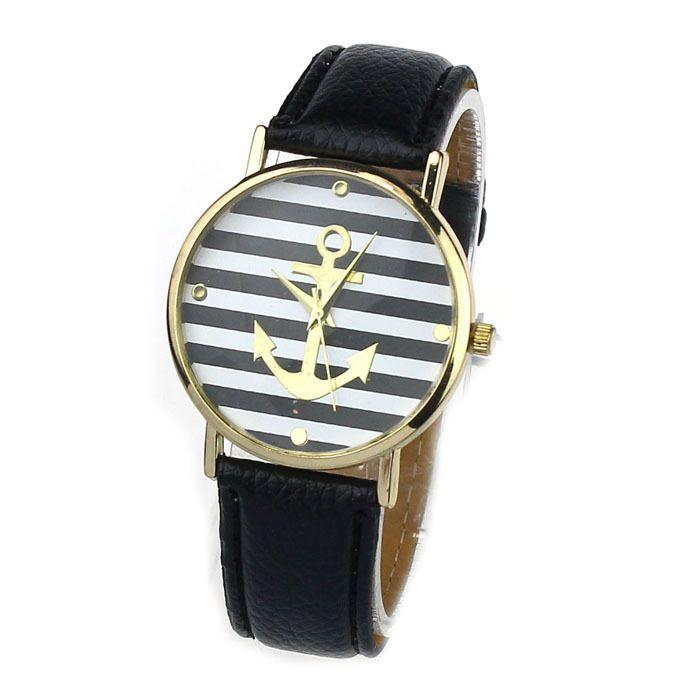 Anchor stripes black-white girl cool watch