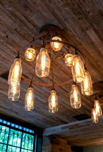 Wood Ceiling - ReclaimedCabin Renovation, Lights Fixtures, Lights 02, Bottle Lights, Bikes Wheels, Cabin Interiors, Milk Bottle, Glasses Bottle, Jars Lights