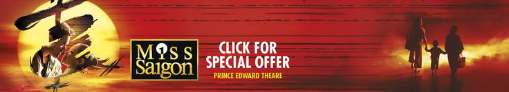 Enjoy the multi award winning London show, Miss Saigon at the magnificent Prince Edward Theatre! The stunning theatre is located at 28 Old Compton Street, London, W1D 4HS.