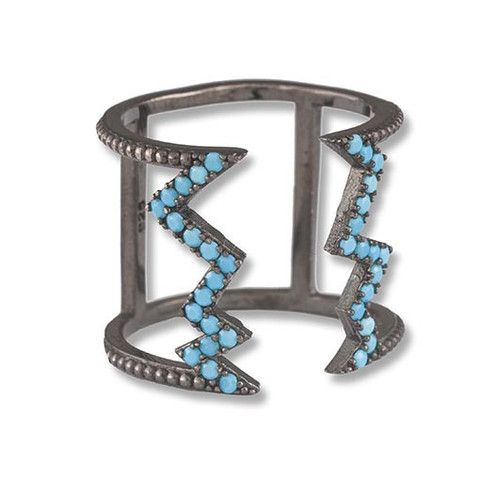 Rhodium Plated Silver Ring WithTurquoise Cubic Zirconia
