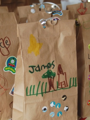 Loot bag- 1. Plant it  Kids can connect with the planet with this eco-friendly party favour. All you need is a brown paper lunch bag, wildflower or vegetable seeds, bulbs or prefabricated tree planting kits and instructions. Tie with raffia or a coloured bow. Your child can participate by decorating the bags themselves.  Source: Slow Mama
