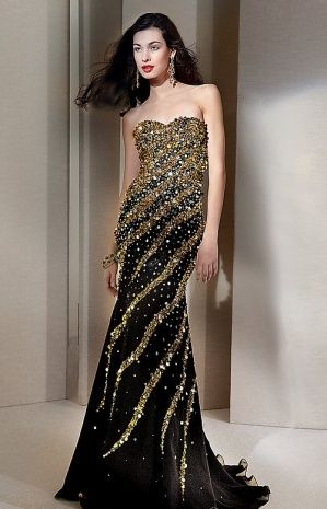 Black And Gold Evening Gowns