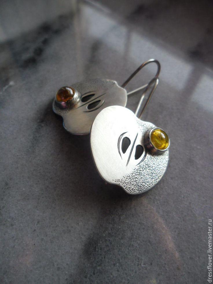 Купить Серьги серебряные Яблочки - желтый, серебряные серьги, серьги серебряные, серьги яблоки