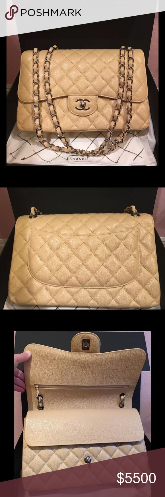 """CHANEL CLASSIC JUMBO DOUBLE FLAP BAG CAVIAR BEIGE Beautiful and in New condition is a Chanel 2.55 Classic Jumbo Double Flag bag in Caviar Leather with Silver hardware.   Comes in original box, with authenticity card, and dust bag.   Measurements: 12""""L x 8""""H x 3.5""""D  NO TRADES.  PRICE ON POSH IS FIRM.  SERIOUS BUYERS ONLY. CHANEL Bags Shoulder Bags"""
