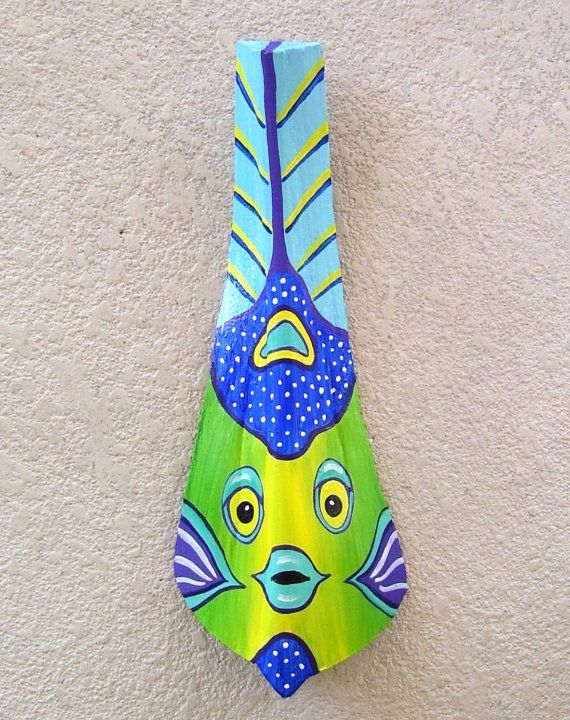 Queen Angelfish Tiki Mask on Fan Palm Frond by roseartworks