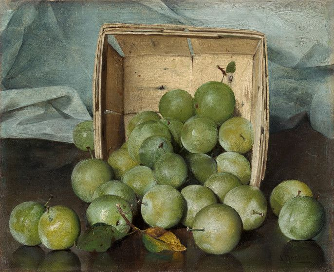"""Green Plums""  --  Circa 1885  --  Joseph Decker  --  American  --  Oil on canvas  --  National Gallery of Art  --  Washington, DC"