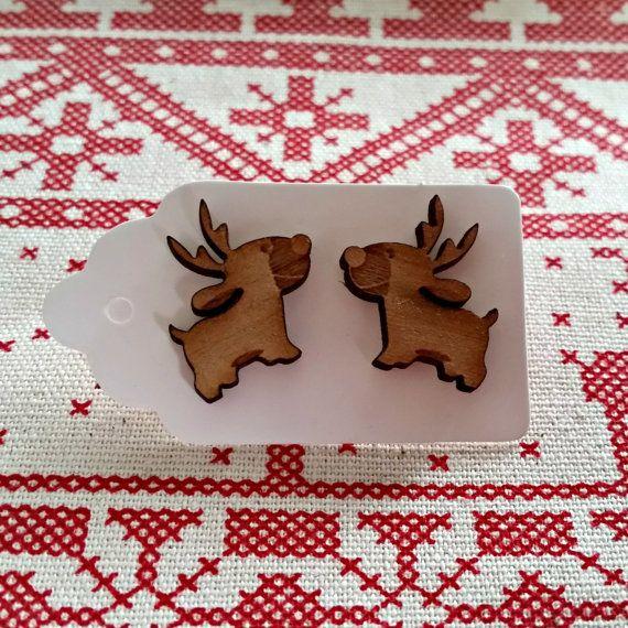 Reindeer Ear Studs - Christmas Earrings - Wooden Jewellery - Laser Cut Jewelry - Stocking Filler - Xmas Present