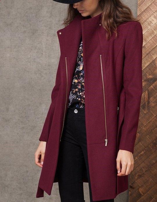 Woollen cloth coat with belt - COATS - WOMAN   Stradivarius Spain
