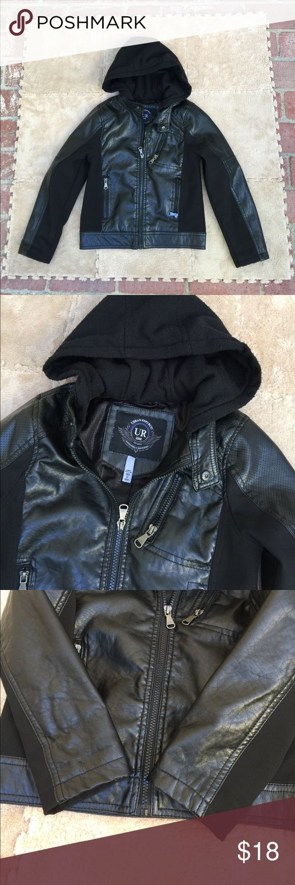 Boy's Moto Jacket Boy's Urban Republic Moto Jacket, size S, size 8. Mix of fabrics, feels like real leather but is faux leather, see photo 7 for fabric descriptions. 3 outer zipper pockets and one inner pocket. Soft Fabric hood with some minor piling, see photos 2, 4 and 5 for reference. Great gently loved condition, no holes, rips, tears or stains.  SAVE 20% when you bundle 3 or more listings in my closet. Urban Republic Jackets & Coats
