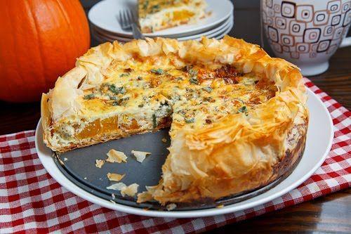 Roasted Pumpkin Quiche with Caramelized Onions, Gorgonzola and Sage via closetcooking.com