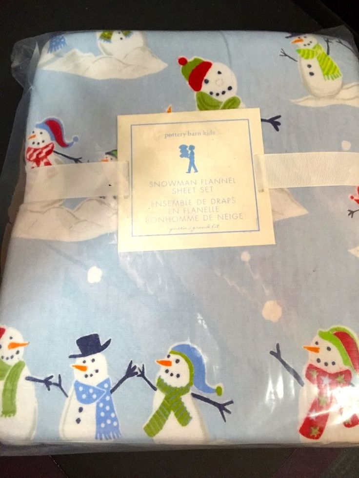 Pottery Barn Kids Snowman Queen Flannel Sheet Christmas
