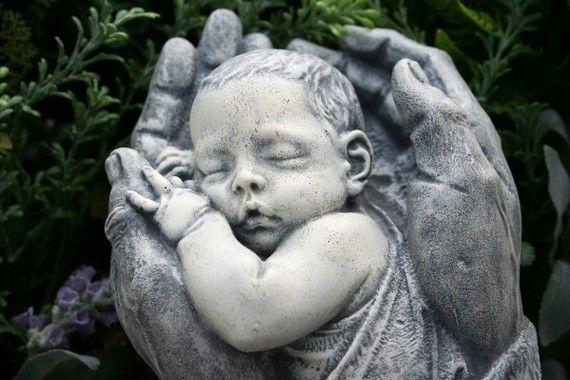 Precious Baby Sculpture Memorial Concrete Outdoor by PhenomeGNOME, $59.99