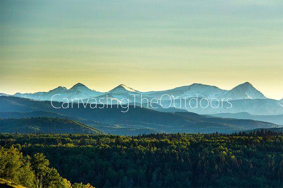 Mountain Sunset Canvas Wall Art Forest by CanvasingtheOutdoors
